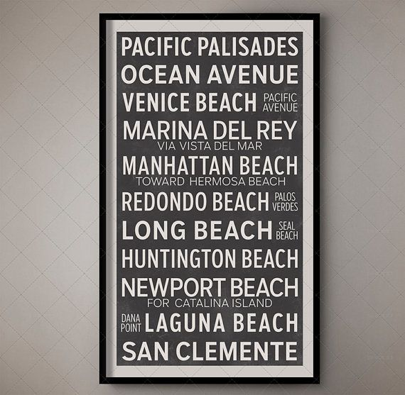 Los Angeles California Vintage Bus Scroll, Vintage Roll Sign, Retro Bus Roll Sign, Californian Decorn, West Coast Style, California Style