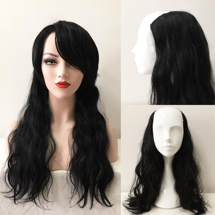 Women One Piece Clip In Hair Extensions Weft Black Loose Long Curly With Clips 22 inches