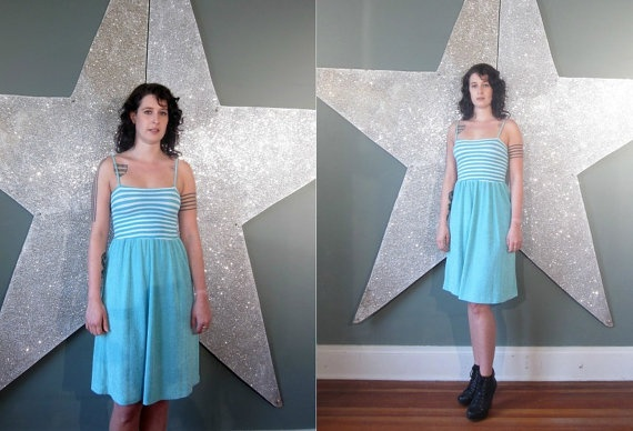 vintage 70's baby blue and white bandeau top dress by foxandfawns, $38.00