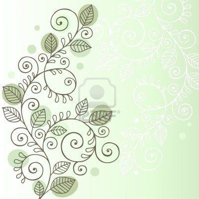 Hand-Drawn Organic Doodle Swirling Vines and Leaves Design Element - Illustration Stock Photo