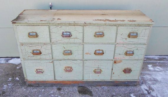 Industrial, Apothecary, Hardware Store, Cabinet, Antique, Buffet, Television Console, TV, Storage, 12 Drawer, 1940'S, Country Store, Vintage...