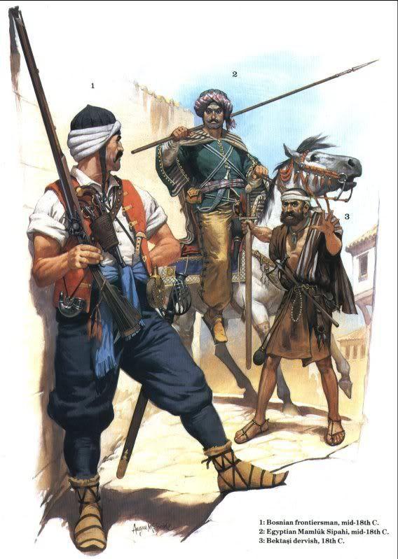 1- Tirailleurs bosniaque. Les frontières européenne de l'Empire Ottoman étaient en permanance gardées par les villageois musulmans des balkans armée de longue arme à feu. 2- Sipahi mamelouk d'Egypte. 3- Dervish bektashi. Ces religieux galvanisés les troupes ottomanes et plus particulièrement les janissaires auxquels ils étaient très atachés.