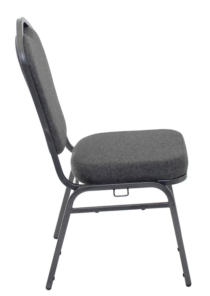 multi church chair in charcoal gray from a side view charcoal gray