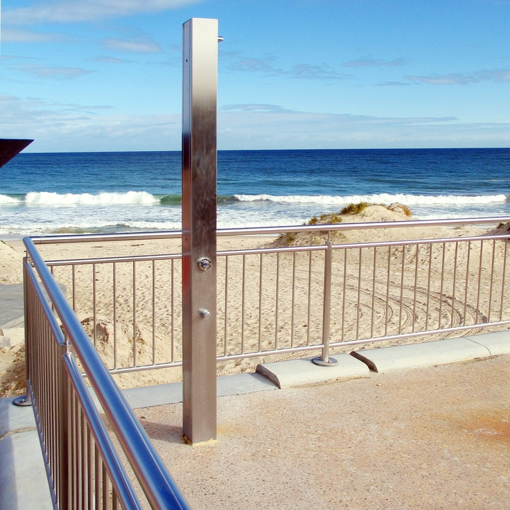 What every Australian beach needs - a great shower! The SS150 from Urban Fountains & Furniture. Seen here at beautiful Burleigh Heads, Gold Coast.