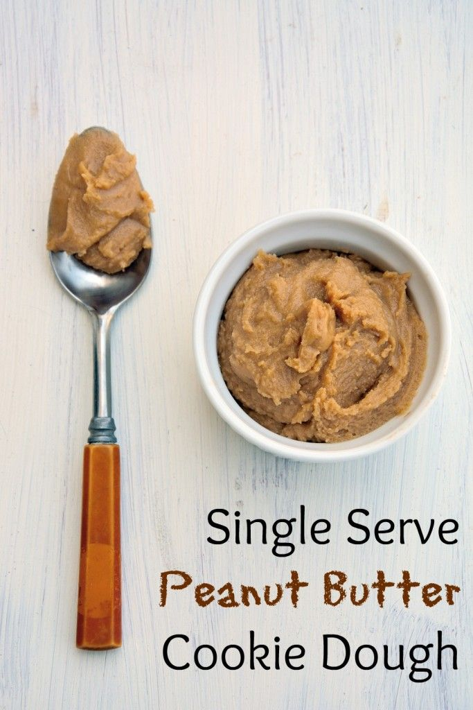 Indulge in small bowl of heaven: eggless single serve peanut butter cookie dough. You know you want some.