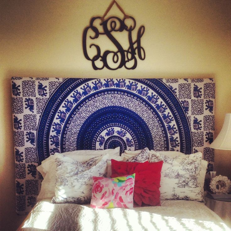Tapestry covered headboard