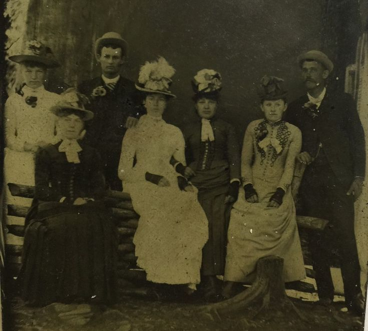 LtoR Adelia Earp, UNSUB, William Edwards,  UNSUB, UNSUB, Alvira Earp and Virgil Earp. On a sixth plate tintype from the collection of P.W. Butler.