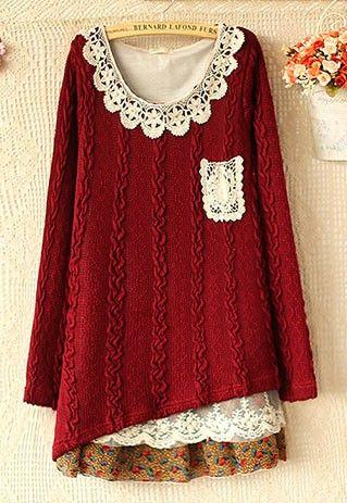 Sweet Cute Lace Chiffon Spliced Knit Dress