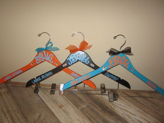 Making mine for the squad along with previous uniform card pin. custom painted CHEER or DANCE or POM squad hangers for schools or competitions on Etsy, $12.00