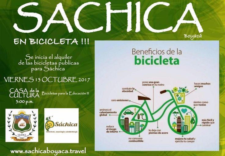 """🚴Recorre a #SáchicaEnBicicleta🚴  Para la apertura del XVIII #ReinadoNacionalDeLCebolla y XXIV Festival de la #DanzaDeLaChica Inauguraremos el programa """"Alquiler de Bicicletas Turísticas""""  Previa inscripción en la #CasadelaCultura - Secretaria de Cultura, Turismo y Comunicación Sáchica.  Viernes 13 de octubre 3:00 pm. #BicicletasParaLaEducación #TodosEnBici #FamiliasEnBici #SáchicaEnBici #SáchicaLaCasaDelCiclomontañista #SáchicaNatural  www.sachicaboyaca.travel"""