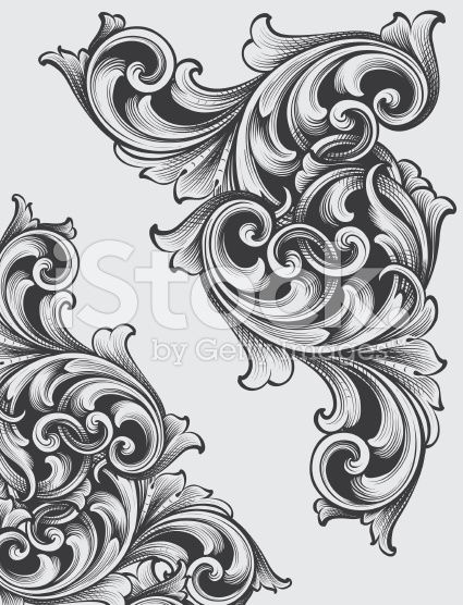 Engraved Corner Scrolls royalty-free stock vector art