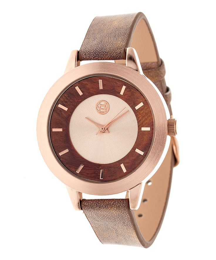 Rose Gold & Brown Autumn Leather-Strap Watch by EARTH wood watches #zulily #zulilyfinds