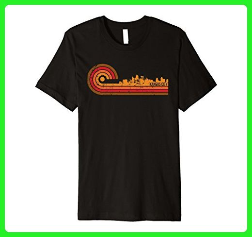 Mens Retro Style Kansas City Kansas Skyline T-Shirt Medium Black - Retro shirts (*Amazon Partner-Link)