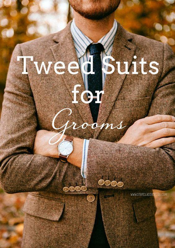 Grooms & Groomsmen in Tweed Suits | SouthBound Bride www.southboundbride.com/well-groomed-country-gentlemen Credit: Stay Classic Blog