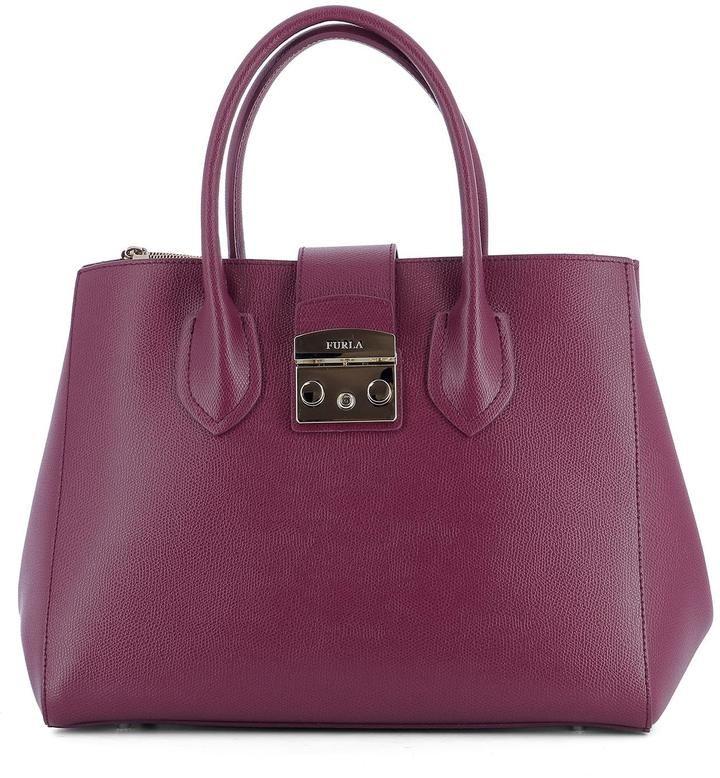 Furla Purple Leather Shoulder Bag