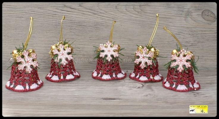5 cloches de Noël : décoration de noël fuchsia pailleté et blanc : Accessoires de maison par loisirs-creatifs-fanfan