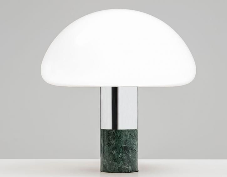 Kw table lamp polished chrome green marble opal murano glass designer william pianta