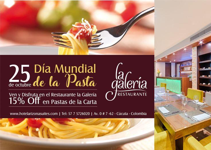 Disfruta el día Mundial de la Pasta en el Restaurante la Galería con un 15% Off y deleita tu paladar con nuestra especialidad en #Pastas de la carta. Te esperamos en la Av. 0 # 7 - 62 Barrio latino #Cucuta #Colombia #DiaMundiadelaPasta  https://goo.gl/9QA8zt