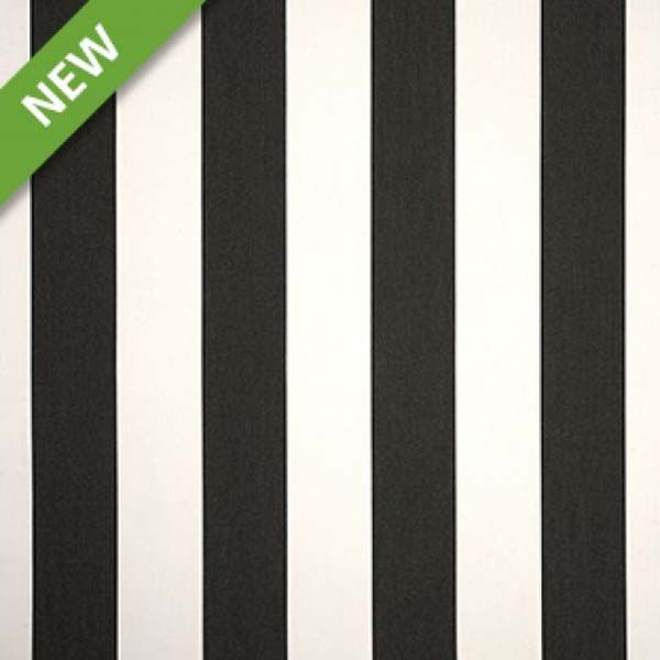 Classic black and white cabana stripe indoor/outdoor fabric by Sunbrella Fabrics is a must have for every decor. Suitable for cushions, pillows, drapes, covering furniture, and even marine interiors, this fabric resists UV rays, soil, stains, mold, mildew, and water.v234PTEA