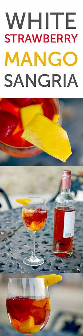 Strawberry mango sangria made with white or pink moscato for a light, refreshing drink