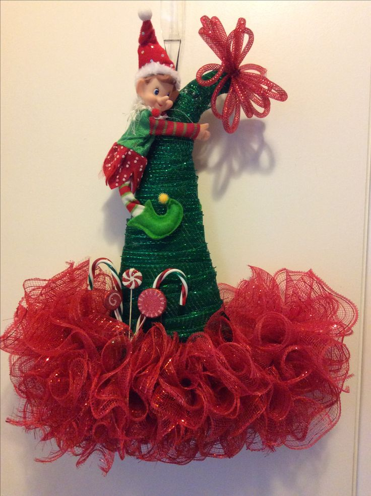 Dt Elf Hat Deco Mesh Christmas Mesh Wreaths Holiday