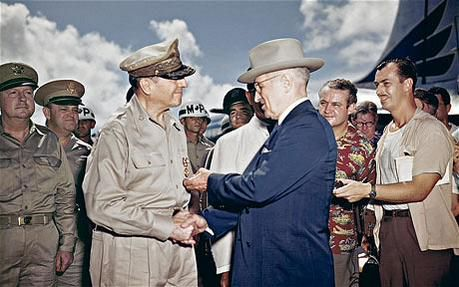 """Macarthur attacked Truman's """"soft"""" stance on communism, called for expansion of Korean War into China. #coldwarhist"""