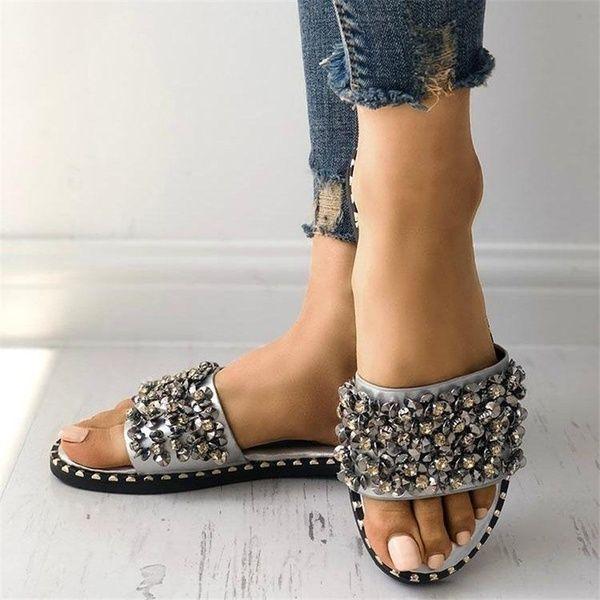 Women Flip Flops Crystals Shoes Flat