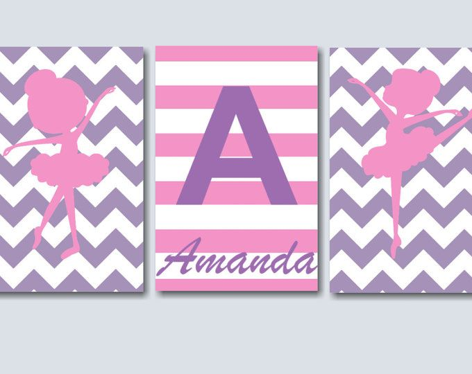 Bailarina vivero pared arte Arte de la pared de color rosa púrpura bailarina, bailarina decoración de la pared, decoración de habitación de bailarina, bailarina de la pared arte-sin MARCO conjunto de 3 C103