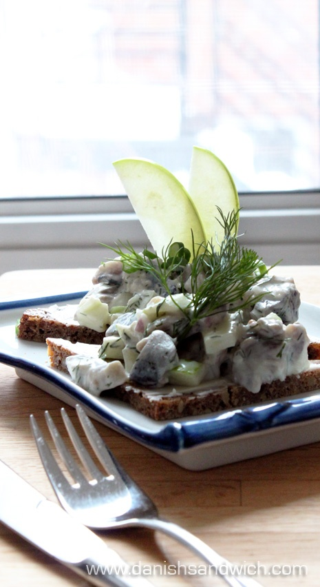 recipe for Skagen Sild, which is a sandwich topping made from pickled herring in a creamy white sauce -- Danish open-faced sandwiches (smørrebrød)