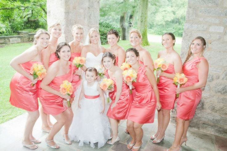Coral bridesmaids dresses. David's bridal guava.