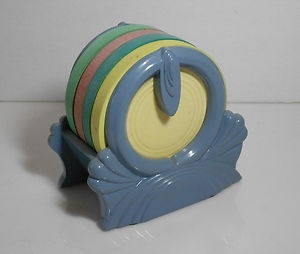 RARE FIESTA PERIWINKLE COASTER HOLDER SET YELLOW TURQUOISE GREEN FIESTAWARE