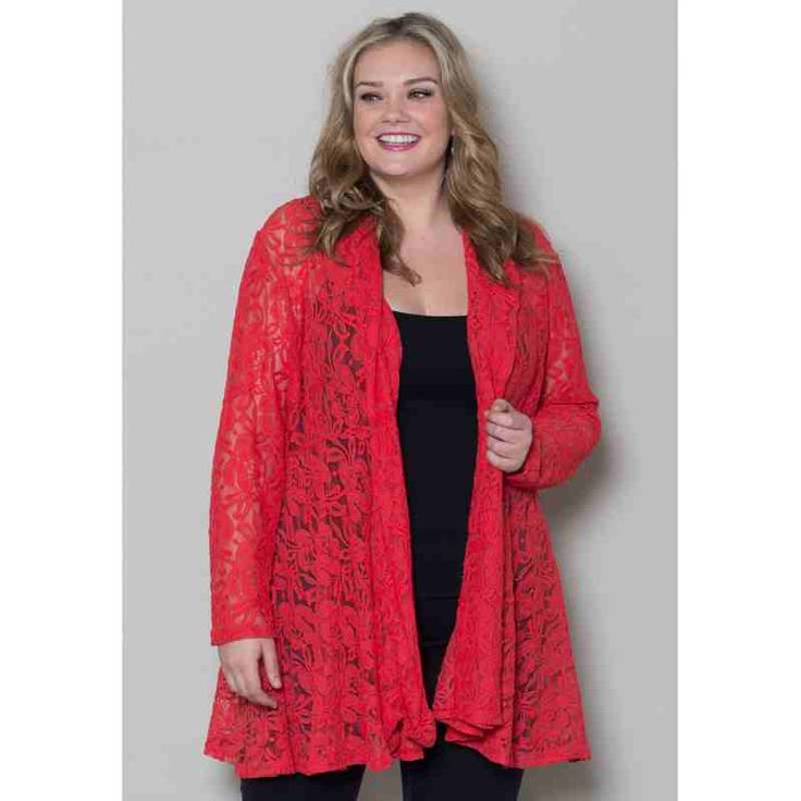 PRE-ORDER - Cielo Lace Cardigan (Red) $61.00 http://www.curvyclothing.com.au/index.php?route=product/product&path=95_98&product_id=7395