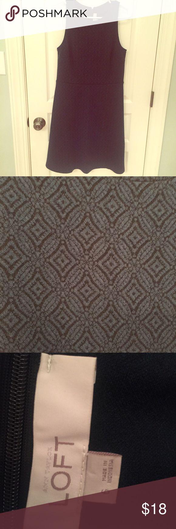 Loft dress size 6 Dark green with quilt like pattern. A-line. Size 6. Hidden zipper up the back. Very flattering. Worn once. Gorgeous! Smoke-free home. LOFT Dresses