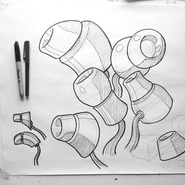 Earbuds by Robin Stethem of STETHEM.COM. #sketchaday #id #industrial #design #product #sketch #earbuds #audio
