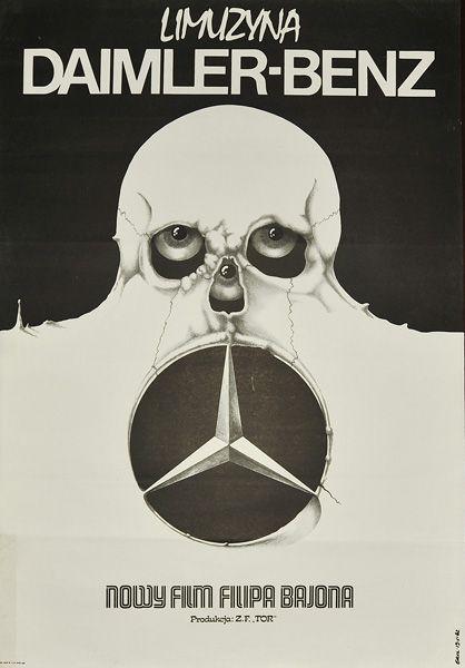 """Plakat filmowy do polskiego filmu """"Limuzyna Daimler-Benz"""". Reżyseria: Filip Bajon. Projekt plakatu: JAKUB EROL, 1982."""