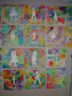 Mrs. T's First Grade Class: Tie Dye Portraits- Great beginning of the year project.