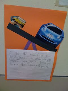 """The students created a balance scale on construction paper out of a one inch strip of paper and a die-cut """"v"""". They then chose two magazine pictures to glue on the scale to show which was the heaviest and which was the lightest. They then wrote comparative sentences to describe the weight of the objects."""