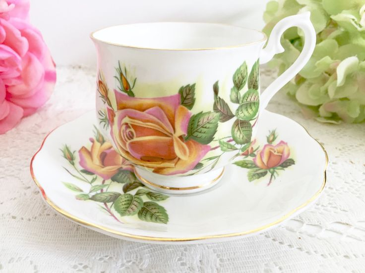 This listing is for a beautiful teacup with orange roses in the Margaret pattern by Royal Albert.  As this is a vintage item, please do expect some light wear. Measures 3 diameter X 2 3/4 high, the saucer is 5 1/2.  Perfect addition to your personal tea cup collection or as a gift for a loved one. Please message us with any questions you may have
