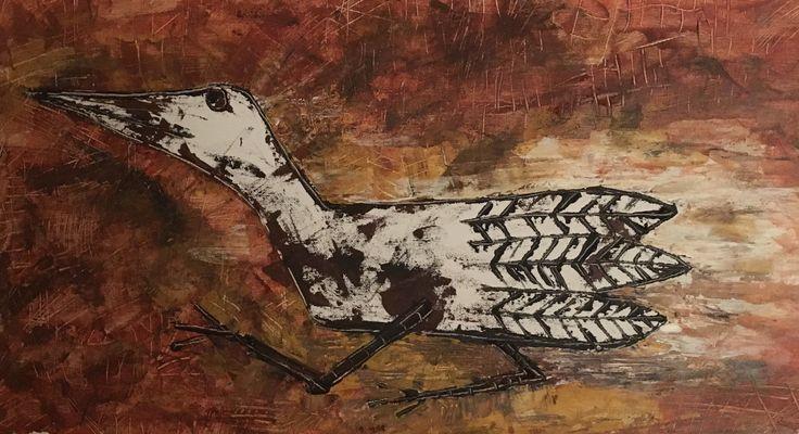 """""""Kratfugl"""". 65 x 35 cm. Kell Jarner, 2017."""