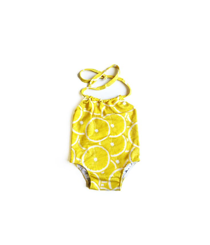 Girls One Piece Swimsuit ~ Toddlers Halter Bathing Suit ~ Toddler Girl Swimsuit ~ Yellow Lemon Print ~ Size 12M to 6T by LilBooApparel on Etsy https://www.etsy.com/listing/287660129/girls-one-piece-swimsuit-toddlers-halter