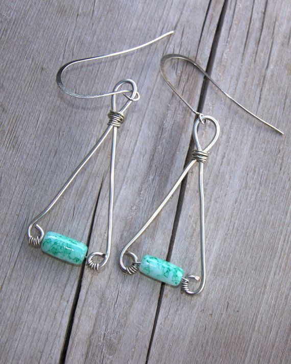 Triangular Green Glass Bead Earrings by BeyondtheWire on Etsy
