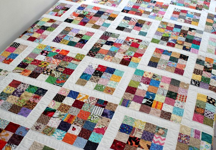 Twin Quilt, Full Bed Quilt, Dorm Bedding, Quilted Blanket, Queen Bed Topper, Postage Stamp Quilt,  Patchwork Quilt, Quiltsy Handmade by RedNeedleQuilts on Etsy