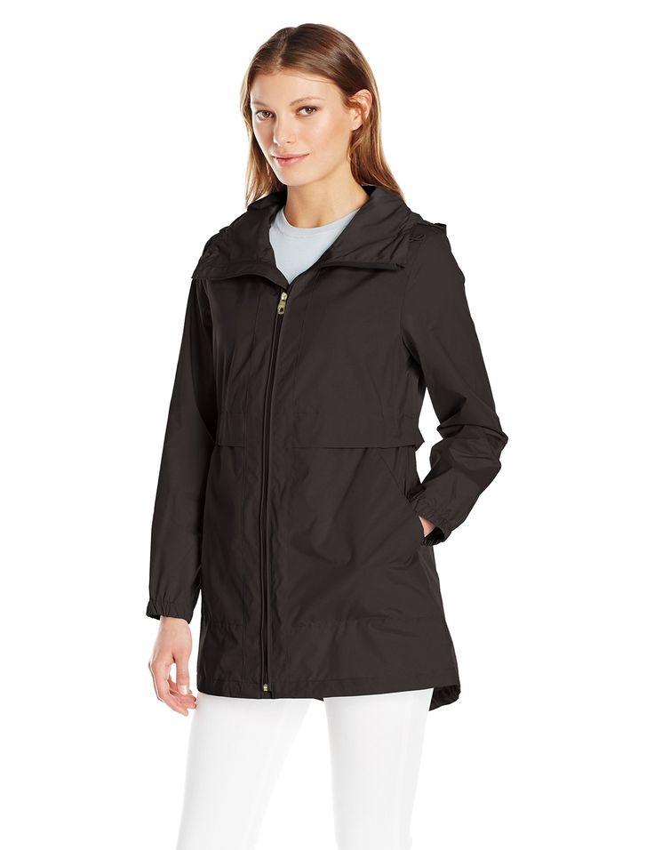 Cole Haan Women's Sporty Packable Rain Jacket, Black, XL