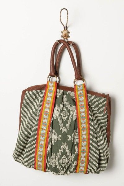 Inspiration ~ gorgeous fabrics of ikat, braid and stripe and love the top gather of this overall square shape bag...... different