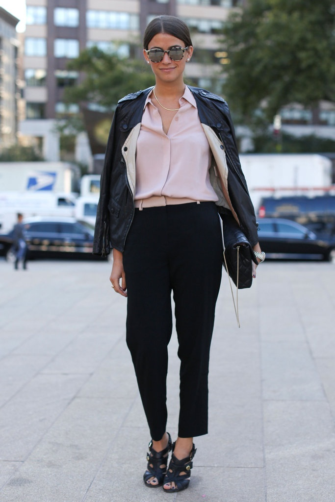 Love the pastel hue against the black leather.  The pastel belt and sunglasses add to the modern look!