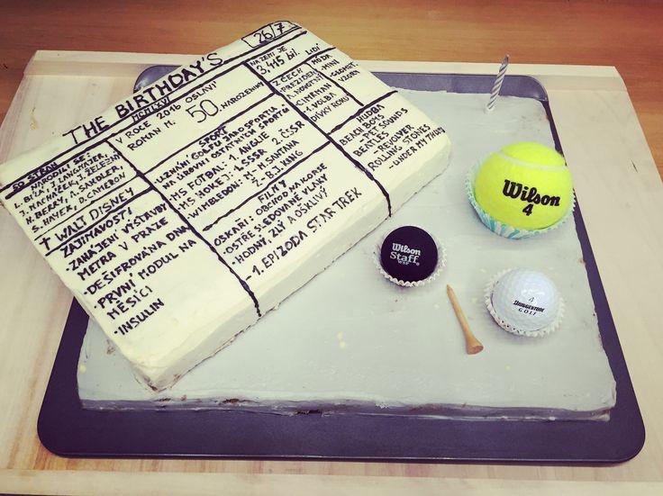Newspaper 50's birthday cake