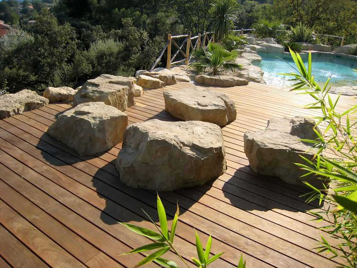 Terrace in exotic wood with rocks