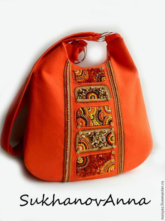 """Купить Сумка """"Оранжевое солнце"""" - рыжий, сумка из ткани, джинсовая сумка, Сумка с вышивкой"""