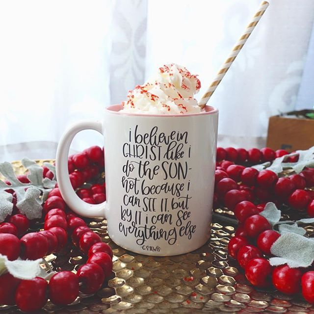 One of my most favorite CS Lewis quotes (it's hard to pick one, am I right??) Celebrating our engagement with a hot cup of coco Mugs are still listed in the shop, only a few more of each style are left! Grab them while they're on sale!