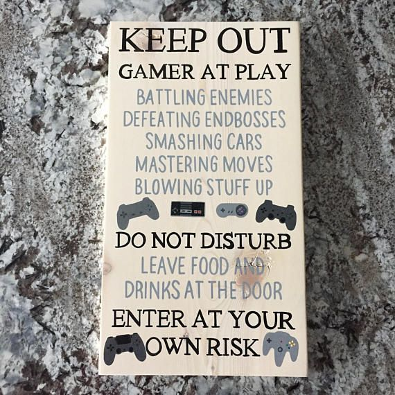 Hand Painted Wood Sign – Gamer Sign This video game sign is the perfect man cave decor or gamer room decor. It features hand painted video game contro…